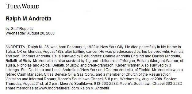 Obit For Andretta